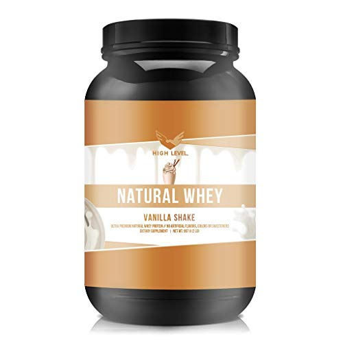 High Level Natural Whey Protein Powder Vanilla Shake with Stevia 29g Protein 2 lb, Ultra Filtered Non-GMO Digestive Enzymes for Absorption No Artificial Color or Flavors Made in USA