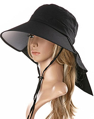 Ls Lady Womens Summer Flap Cover Cap Cotton Anti-UV UPF 50+ Sun Shade Hat With Bow. Adjustable Hat With Wind belt (One Size, Black)