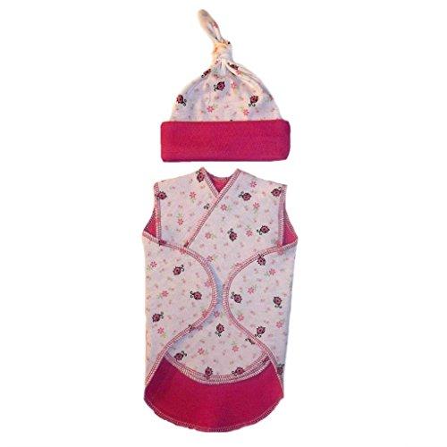 Jacqui's Baby Girls' Sweet Ladybugs Flowers Preemie Snuggler Wrap, ()