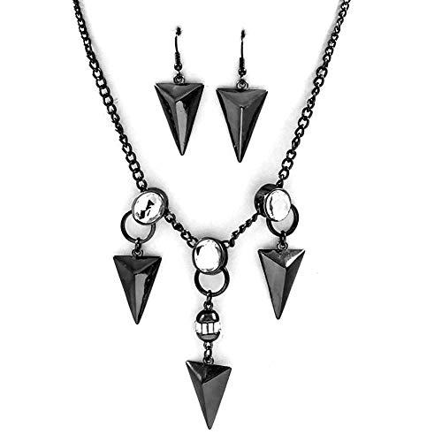 Joji Boutique Gunmetal Arrow Necklace and Earring Set with Crystal Detail (Earrings Arrowhead Crystal)