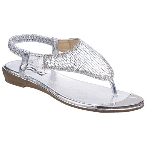 Divaz Womens/Ladies Kirsty Toe Post Sandals Silver