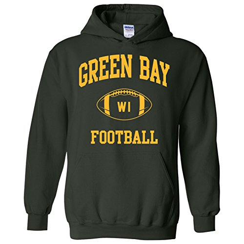 - Green Bay Classic Football Arch American Football Team Sports Hoodie - X-Large - Forest