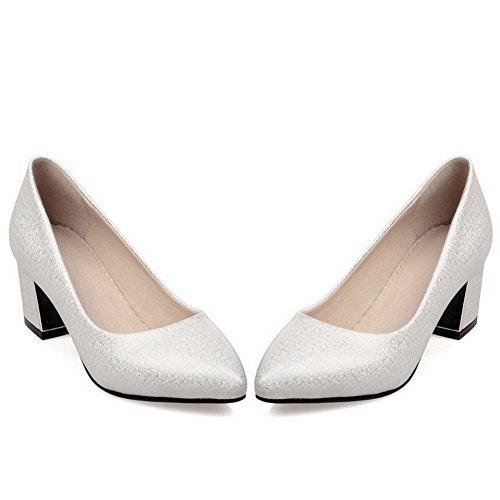 Amoonyfashion Donna Solido Materiale Misto Tacchi Gattino A Punta Chiusa Tira Su Pompe-scarpe Bianche