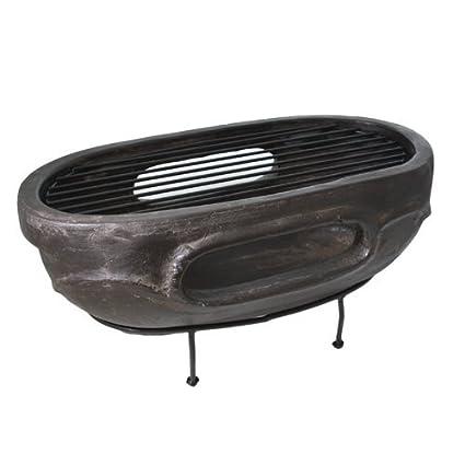 Oval al aire libre barbacoa portátil de carbón piedra arcilla cuadro top Fire Pit – Patio