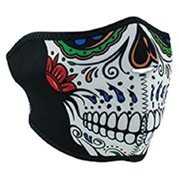 Sugar Skull Muerte Day of Dead Rainbow Neoprene Half Face Mask Biker Black