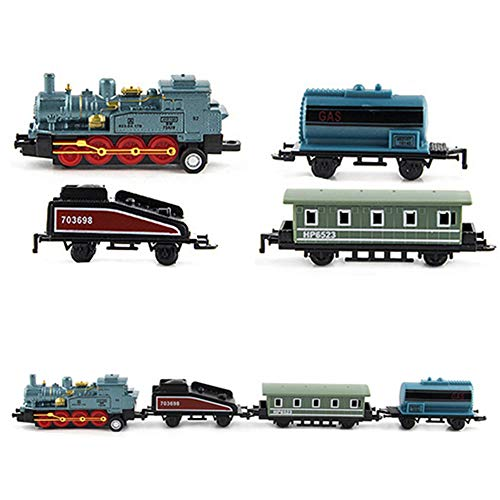 (HLang Classic Locomotive Model Train, Pull Back Vehicle Toy, Alloy Train Model Toy Classical Steam Joint Train Chain Baby Kids Toys (Blue))