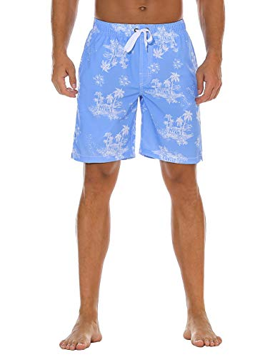 Nonwe Men's Swim Shorts Printed Summer Holiday Quick Dry Board Shorts Blue 32