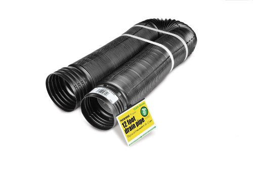 (Flex-Drain 51910 Flexible/Expandable Landscaping Drain Pipe, Perforated, 4-Inch by 12-Feet)