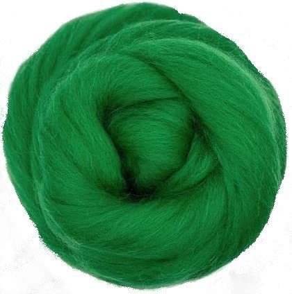 NZ Corriedale Wool Roving for Felting 1 Ounce Green