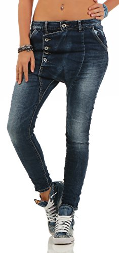 Distrutto Ladies Baggy Jeans Lexxury Fidanzati Zarmexx L18133 Da Denim Look Stretch Blu IwE7IU0q