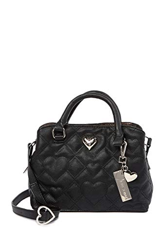 Betsey Johnson Quilted Hearts XOXO Betsey Heart Detail Detachable Charm Triple Entry Satchel Shoulder Bag (Betsey Charms Johnson Black)