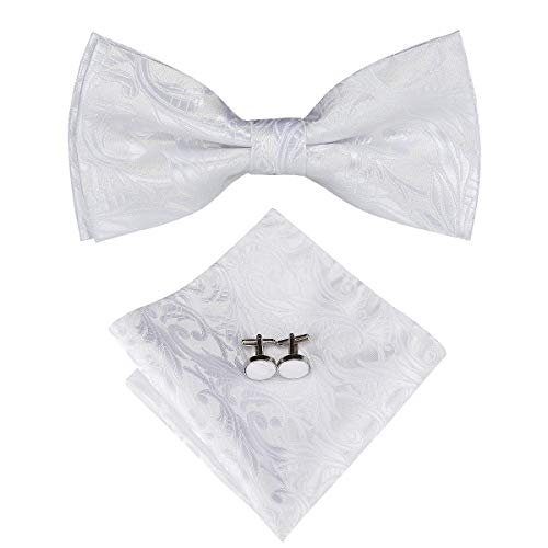 Dubulle White Bow Tie for Men with Pocket Square Silk Party Bowties -