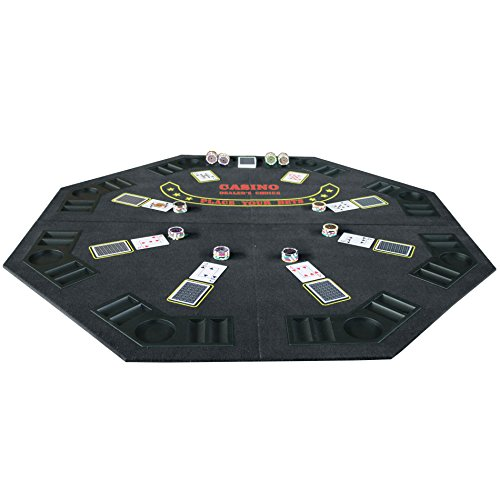 IDS Home Folding Blackjack/Poker Table Top (48 Inch) Octagon with Cup Holders by IDS Home