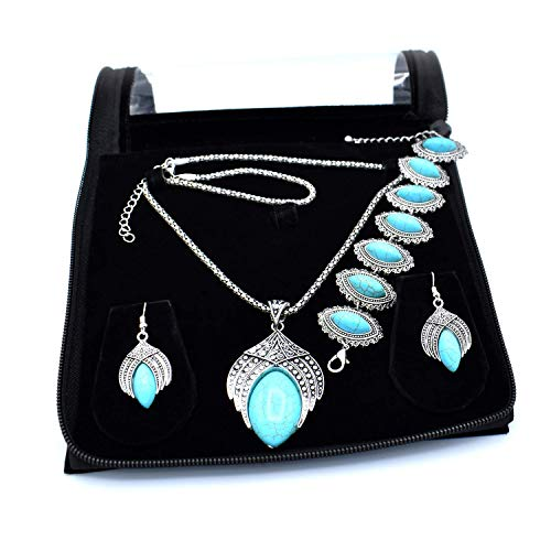 (JAIPURCRAFT Bohemian Style Large Blue Turquoise (Howlite) Necklace Earring Bracelet with Antique Silver Color Plated Leaf Sets, Gifts for Mother's Day (Blue))
