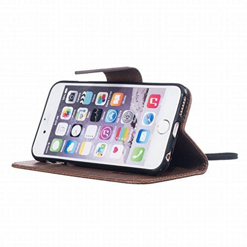 Yiizy Apple Iphone 6s Plus Hülle, Feather Prägung Entwurf PU Ledertasche Klappe Beutel Tasche Leder Haut Schale Skin Schutzhülle Cover Case Stehen Kartenhalter Stil Bumper Schutz (Sraun)
