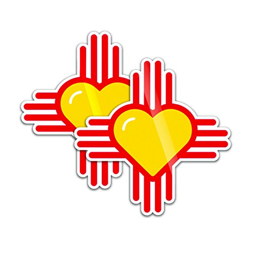 Spacedust Apparel 3 Sticker Set: New Mexico Heart Zia - Heart (LOVE) New Mexico Vehicle -