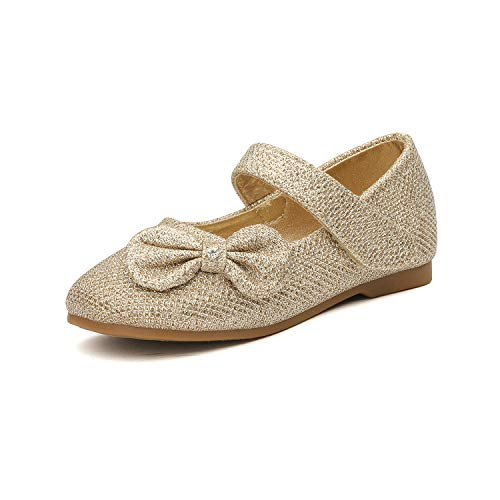 DREAM PAIRS Angel-5 Adorable Mary Jane Side Bow Buckle Strap Ballerina Flat (Toddler/Little Girl) New Gold-Glitter Size 5 (Gold Shoes Toddler)