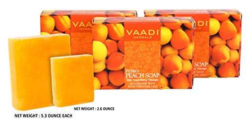 Peach Bar Soap (DOUBLE SIZE) with Almond Oil - Handmade Herbal Soap (Aromatherapy) with 100% Pure Essential Oil - ALL Natural - Skin Nourishing Therapy - Each 5.3 Oz - Pack of 3 (1 Lb) - Vaadi Herbals