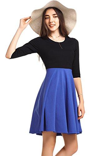 Women's Autumn Round Neck Dress Solid Color Ladies Casual Dress - 3