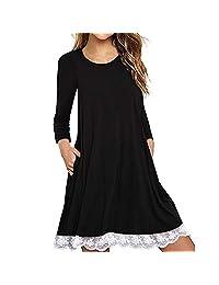 HEFEITONG Women's Long Sleeve Cotton Lace T Shirt Dress Pockets