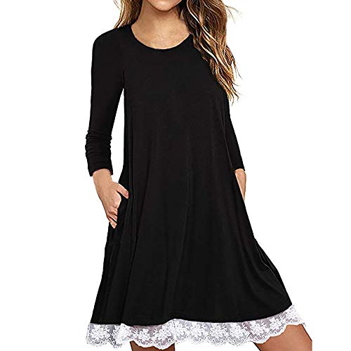 Ulanda Women's Long Sleeve Pockets Loose T-Shirt Dress Casual Swing Floral Lace Dress Plus Size Black