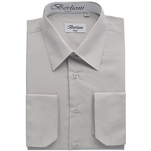 Men's Dress Shirt - Convertible French Cuffs ,Silver,X-Large (17-17.5