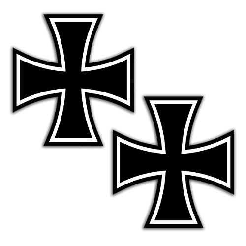 2 x PVC Laminated Iron Cross Stickers B 54 ()
