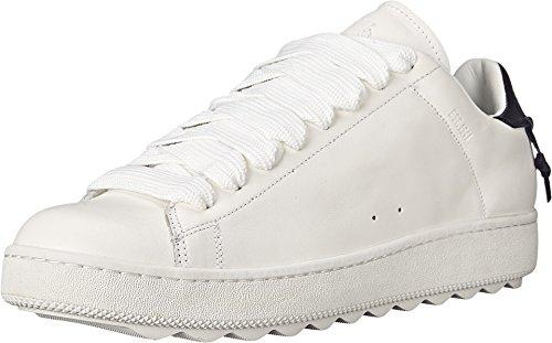 COACH Men's Leather C101 White/Navy Sneaker 9.5 D (M) - Mens Coach Sneakers