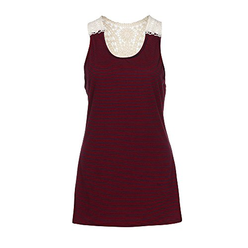 Gillberry Women Summer Lace Vest Top Short Sleeve Blouse Casual Tank Top T-Shirt (Wine Red, US XS=Asian S)