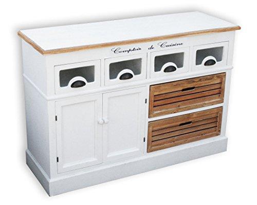 KMH®, Küchensideboard mit 2 Holzkörben und 4 Schubladen im Vintage-Look (#204811)