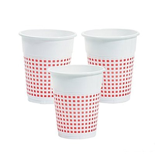(50) Plastic Red and White Checkered Cups - 50 Pc -Gingham Picnic - Cup Picnic