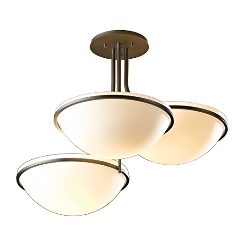 Stone Bowl Pendant (Hubbardton Forge 124255-20-H27 Moonband Triple Bowl Semi-Flush Pendant, Stone Glass, Natural Iron Finish)