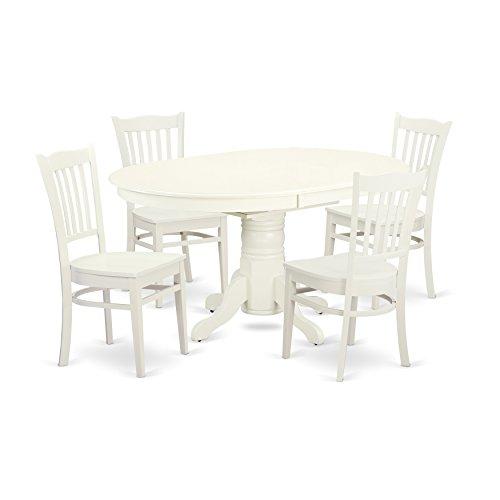 East West Furniture AVGR5-LWH-W Kitchen Set, 5 Pieces, Linen White