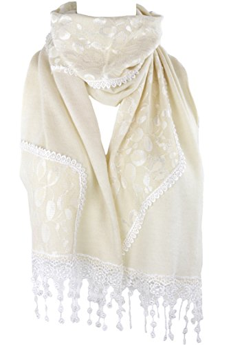 Lace Knit Scarf - Ivory Cream - 60