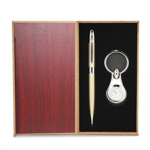 Jewelry Adviser Watches Silver-tone Engravable Watch Key Ring and Pen Gift Set
