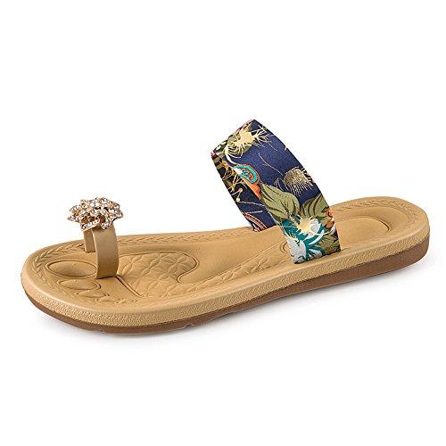 (◕‿◕Watere◕‿◕ Summer Women's Non-Slip Flip Flops Fashion Bohemia Sweet Print Sandals Flat Roman Beach Casual Slippers Blue)