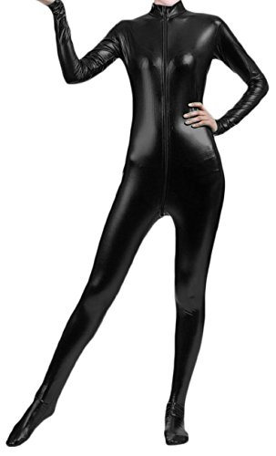 [VSVO Shiny Metallic Unitard Bodysuit Catsuit (Kids Medium, Black)] (Adult Black Suit Superman Costumes)
