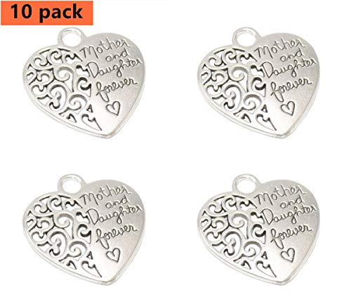 Yansanido Pack of 10 Alloy Silver ''Mother and daughter forever'' heart shape DIY Antique Message Charms Pendant for Making Bracelet and Necklace (Mother and daughter forever)