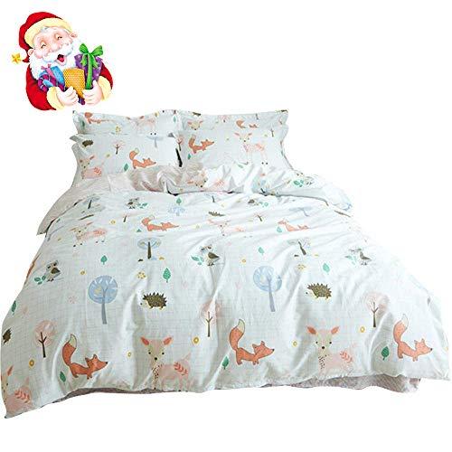 BuLuTu Animal Duvet Cover Queen White 100% Cotton,3 Pieces Woodland Kids Bedding Sets Full for Boys Girls,Hedgehog Fox Deer Owl Print Queen Duvet Cover and 2 Pillowcases,No Comforter -
