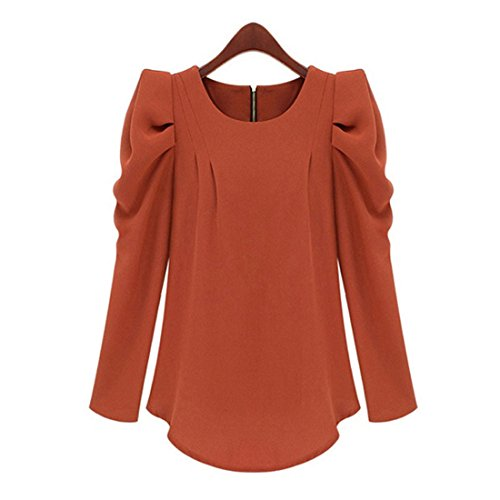 Cardigan Plisse Cou Tops Rouge Manches Chemisiers Blouses Grande Longues Oversize Taille Rond Casual Automne Haroty Femmes Bouffante Mousseline PZUfqa0