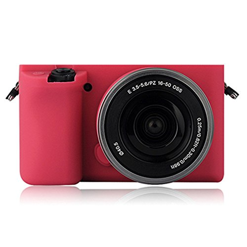 Turpro Flexible Silicone Camera Case,Soft Protective Camera Cover Skin for Sony Alpha A6000 with 16-50mm Lens (Hot Pink)