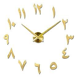 Ridecle DIY Wall Clock, 3D Mirror Stickers Large Wall Clock Frameless Modern Design Large Watch Modern Pendulum Design, Metallic Wall Clock 47.2447.24in