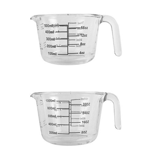 Farberware 2-Piece Borosilicate Glass Wet and Dry Measuring Cup Set, 2-Cup and 4-Cup