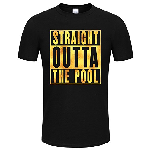 SPGBTees Gold Foil Men's Straight Outta the Pool T-shirt Black Color XL-Size Black Straight Pool