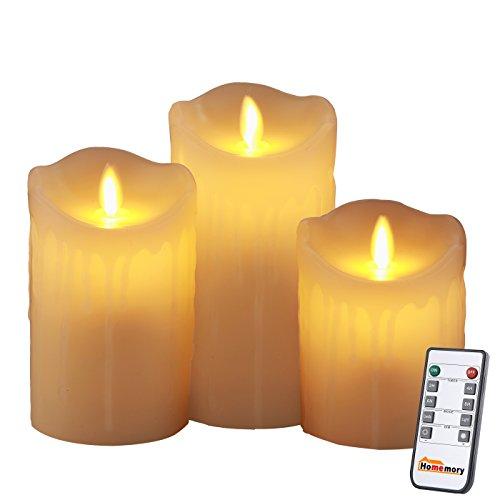 Homemory Battery Operated Flameless Candle with Timer, Set of 3 Tear Drip LED Votive Remote Candle, Electric Candle with Flickering Flame for Gift, Spa, Bathroom, Table, Wall Sconce … Spa Remote
