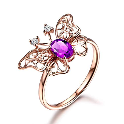 MoAndy Sterling Silver Rings for Women Purple Oval Cut Amethyst Anniversary Wedding Engagement Ring Rose Gold Size 7