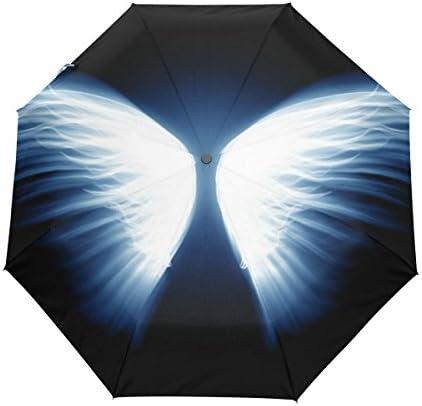 ミヤビヤ 自動開閉式折りたたみ傘 SF ファンタジー柄 天使の翼柄 羽柄 ブラック コンパクト スペシャル 特別 旅行 アウトドア プレゼント