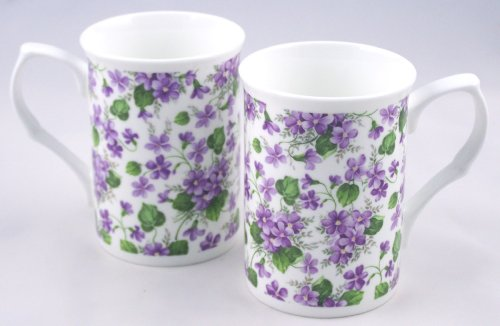 Fine English Bone China Mugs - Wild Violet Chintz - Set of Two ()