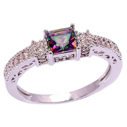 Topaz Zircon Ring (CiNily Silver Mystic Topaz Zircon Women Jewelry Gemstone Ring Size 6-12 (6))
