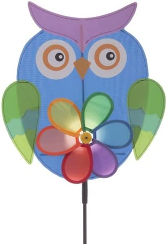 Windmühle Eule mit Blumen Windrad in versch Farben Eulen owl Garten Gartendeko